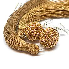 Náušnice - TASSEL Trio - dlhé náušnice so strapcom, zlaté - 10332387_