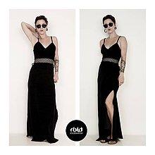 Šaty - Čierne zamatové šaty - 10332270_