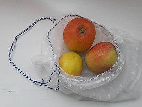 Nákupné tašky - Eko vrecko / eko sáčok na ovocie a zeleninu veľké *Bodkulienka* (Modrá - bledá) - 10333175_