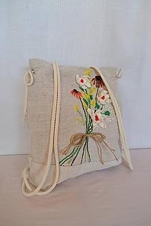 Batohy - Ľanový batôžtek s objemovou výšivkou 2 - 10333704_