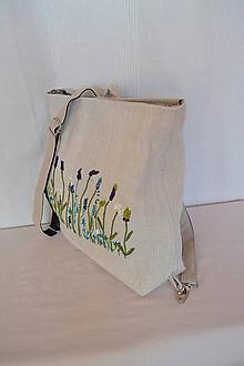 Batohy - Ľanový batôžtek s objemovou výšivkou 3 - 10333831_