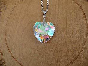 Náhrdelníky - veľké 3D sklenené srdce prívesok - 10332356_