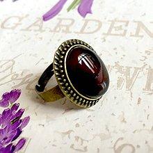 Prstene - ZĽAVA 55% Brown Black Agate Ring / Prsteň s hnedočiernym achátom v bronzovom prevedení #0201 - 10338855_