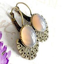 Náušnice - Vintage Grey Agate Earrings / Bronzové náušnice so šedým achátom /1470 - 10339215_