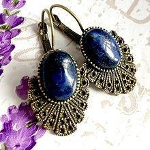 Náušnice - Vintage Lapis Lazuli Earrings / Bronzové náušnice s lazuritom /1470 - 10339239_