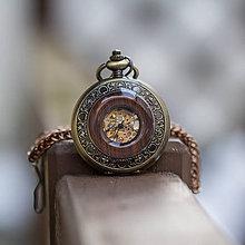 Doplnky - Mechanické vreckové hodinky s kroužkovanou reťazou (48) - 10337345_