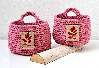 Košíky - Háčkované košíčky-ružová sada s dreveným štítkom - 10337479_