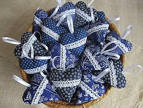Darčeky pre svadobčanov - Svadobné srdiečka - modrotlač - 10338436_