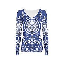"""Tričká - FLORAL FOLK """" Modrotlač """", tričko s dlhým rukávom (Modrá + biely akvarel) - 10339643_"""