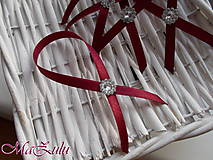 Pierka - stužky na svadobné fľaše v bordo - 10335917_