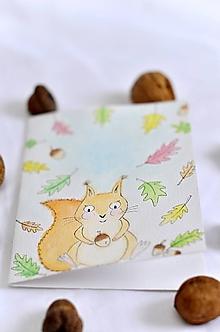 Papiernictvo - Maľované veveričkové prianie - 10336552_