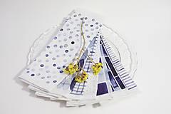 Úžitkový textil - Set šiestich INDIGO obrúsokov - 10336579_