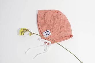 Detské čiapky - Čepček oranžový z gázoviny - 10335554_