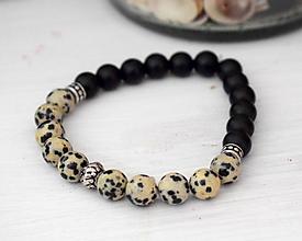 Šperky - Mantra pánsky náramok Jaspis Dalmatín a Ónyx - 10336793_
