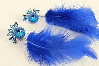 Náušnice - Modré pierkové - 10337093_