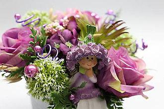 Dekorácie - Fialové ruže na stôl - 10337674_
