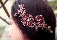 Ozdoby do vlasov - čipková ozdoba do vlasov - bordová + zlatá - 10337475_