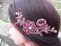 Ozdoby do vlasov - čipková ozdoba do vlasov - bordová + zlatá - 10337476_