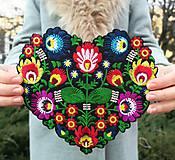 Galantéria - Nažehľovačka Folk srdce veľké vyšívané - 10338873_