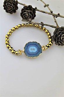 Náramky - achát lemovaná drúza a hematit náramok luxusný - 10338313_