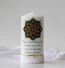 Svietidlá a sviečky - Motivačná sviečka s mandalou - 10338943_