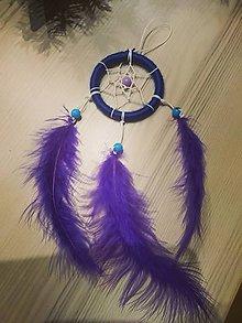 Dekorácie - Modro fialový lapač snov - 10337749_