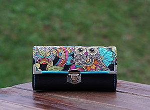 Peňaženky - Peněženka Sova černá, 18 karet, fotky, 2 kapsy, prostorná - 10336484_