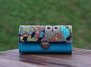 Peňaženky - Peněženka Sova tyrkys, 18 karet, fotky, 2 kapsy, prostorná - 10336526_