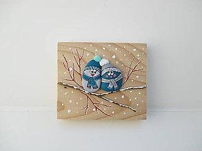 Dekorácie - Uzimené štebotavé vtačúrence - modrá - 10336500_