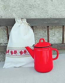 Úžitkový textil - Ľanové vrecko na veľký chlieb VLČIE MAKY - 10336405_
