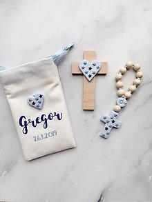 Detské doplnky - Detský set ku krstu - ruženec a krížik modrý vo vrecúšku - 10338716_