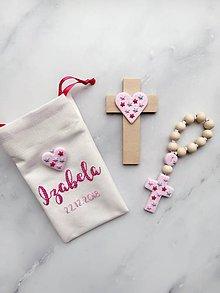 Detské doplnky - Detský set ku krstu - ruženec a krížik ružový vo vrecúšku - 10338745_