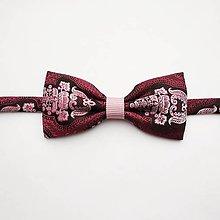 Doplnky - Motýlik bordovo-ružový ornamentový - 10338057_