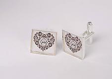 Šperky - manžetové gombíky ľudové čiernobiele - 10337964_