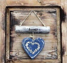 Dekorácie - Závesná dekorácia - srdce (Modrá) - 10338115_