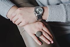 Prstene - BUTTON {M} strieborný elegantný prsteň - 10336192_