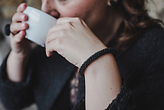 Náramky - SNAKE čierny elegantný náramok  - 10336303_