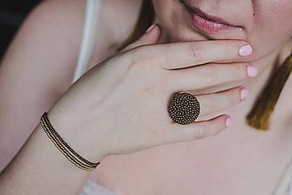 Prstene - BUTTON {M} bronzový elegantný prsteň - 10336154_