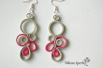Náušnice - Sivo ružové kruhy - 10339108_