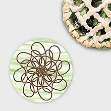 Dekorácie - Ozdoba na koláčik mandala chocolate lines (pistáciová) - 10335786_