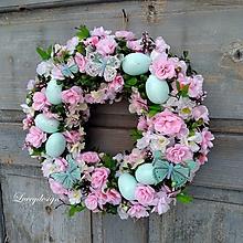 Dekorácie - veľkonočný veniec..čerešňový kvet - 10337814_