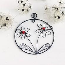 Dekorácie - kvety v kruhu (Červená) - 10342647_