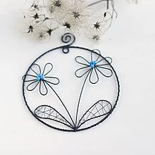 Dekorácie - kvety v kruhu (Tyrkysová) - 10342663_