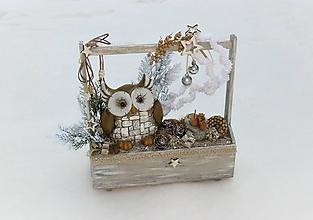 Dekorácie - Zimná dekorácia so sovičkou Rozárkou - 10342631_