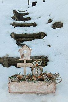 Dekorácie - Zimná dekorácia so sovičkou - 10342655_