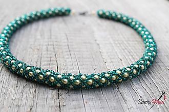 Náhrdelníky - náhrdelník zlato-smaragdový - 10342870_