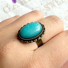 Prstene - ZĽAVA 55% Turquoise Jade Ring / Prsteň s tyrkysovým jadeitom v bronzovom prevedení #1471 - 10340116_