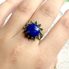 Prstene - Vintage Flower Filigree Lapis Lazuli Ring / Bronzový prsteň s lazuritom #1473 - 10340151_