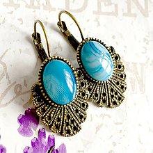 Náušnice - Vintage Blue Agate Earrings / Bronzové náušnice s modrým achátom /1470 - 10340176_