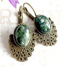 Náušnice - Vintage Seraphinite Earrings / Bronzové náušnice s prírodným serafinitom /1470 - 10340270_